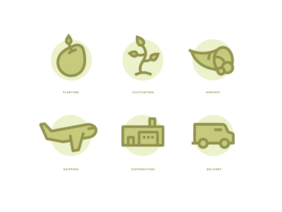 Food Icons (wip) icon icons food agriculture distribution planting harvest cultivation shipping delivery illustration farmers market farm farming seed plant cornucopia truck plane warehouse building