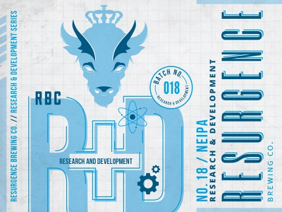 Resurgence R+D Experimental Labels small batch notes buffalo gears grid nucleus atom science experiment can label beer