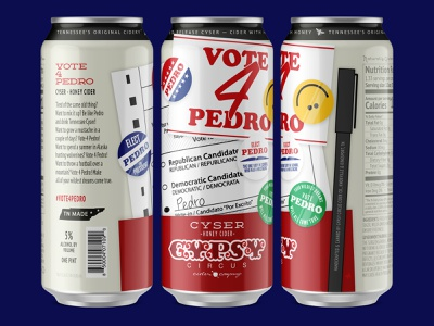 Vote 4 Pedro tennesee ballot election elect smile smiley face gypsy political politics button sticker packaging sleeve label can beer napoleon dynamite pedro go vote vote