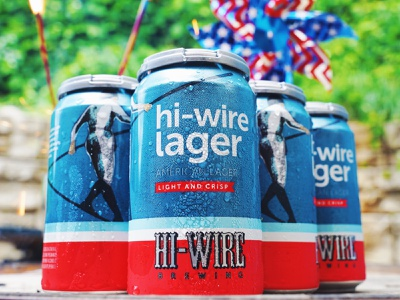Hi-Wire Lager packaging can asheville classic blue white red independance day american america usa patriotic lager beer