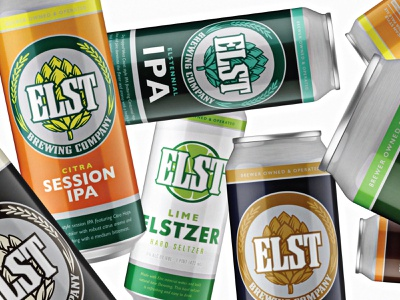 Elst Brewing Cans hop tennessee infographic details modern classic colorful packaging label can beer