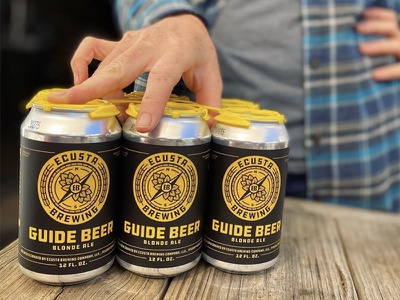 Ecusta Brewing Guide Beer badge label nc app state black yellow can guide outdoors beer