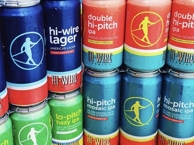 Hi-Wire flagship can update hazy ipa lager asheville retro stripes colorful bold simple beer can beer