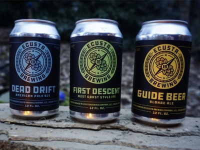 Ecusta Brewing 12oz Cans hops compass explore fire rock can beer label black colorful hiking fishing camping outside adventure beer