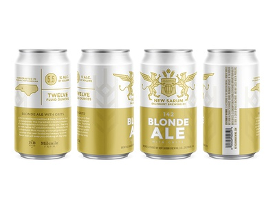 New Sarum Can gold shield gryphon griffin north carolina mockup packaging can beer