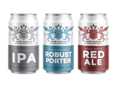 New Sarum Cans beer can packaging mockup north carolina griffin gryphon red ale porter ipa