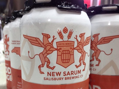 New Sarum | The Dieline the dieline beer can packaging north carolina griffin gryphon shield