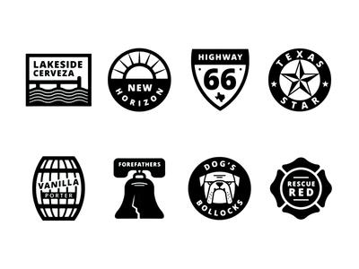 Woodcreek Brewing Beer Icons brewery badge bulldog dock barrel liberty bell texas sign sun star icons beer