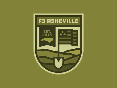 F3 Asheville Badge ddc hardware military mountains asheville f3 north carolina logo badge shovel flag