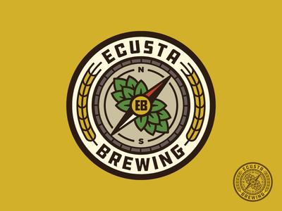 Ecusta Brewing Logo hop cone badge brewery beer wheat barley hops compass illustration identity branding logo