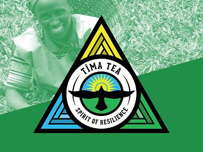 Tîma Tea Branding badge rwanda sun bird hawk tea triangle branding logo