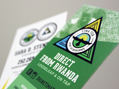 Tîma Tea Business Cards pattern hawk triangle badge rwanda tea logo branding