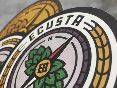 Ecusta Coasters badge beer barley hop cone hops compass branding logo print printed
