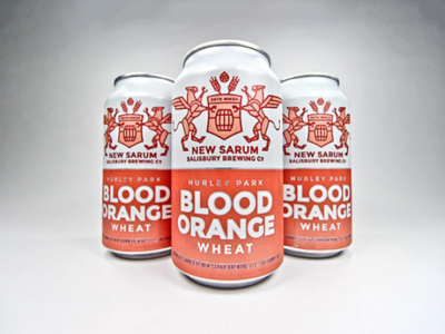 Blood Orange Wheat Cans simple wheat barley wings shield hop cone hops logo can beer