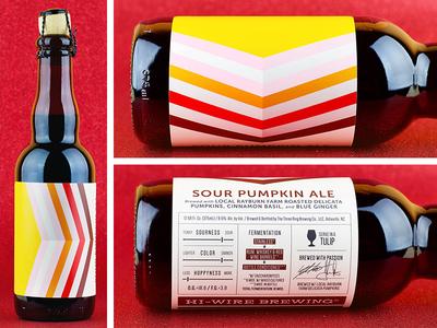 Hi-Wire Sour Pumpkin Ale pumpkin bottle infographic colorful simple pattern label beer
