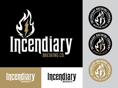 Incendiary Brewing Co. Branding icon custom type typography badge lightning fire illustration flame brewery beer logo branding