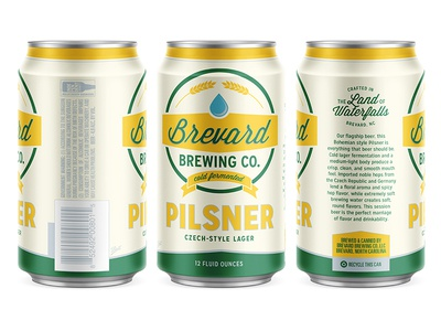 Brevard Brewing Co. Pilsner direct print clean bold simple classic retro can beer
