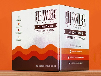 Hi-Wire Strongman 12pk 12 pack thick lines retro asheville beer packaging