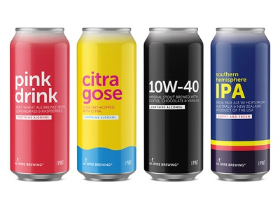 Hi-Wire Brewing Specialty Cans simple packaging can beer playful bold