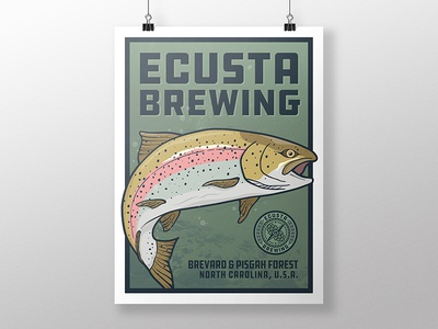 Rainbow Trout Poster fishing rainbow trout fish trout brewery beer illustration poster