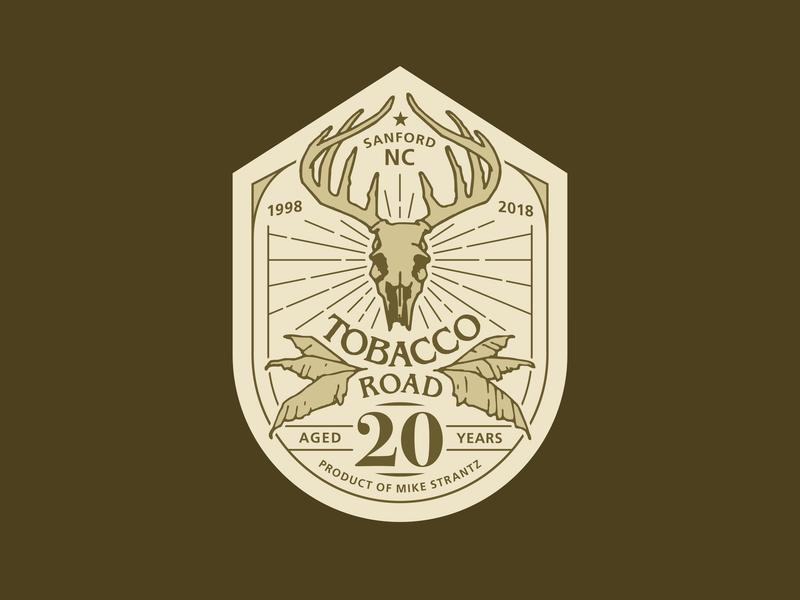 Tobacco Road 20th Anniversary Logo deer antlers leaf north carolina anniversary tobacco skull badge branding logo golf course golf