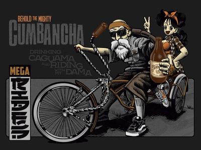La Cumbancha, para Mega rides cholo illustration caguama caguama adobe illustrator etching roshy master roshy master bicycle