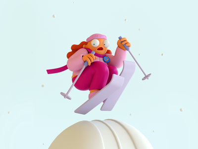 GO 21 GO! mail snow 3d character illustration