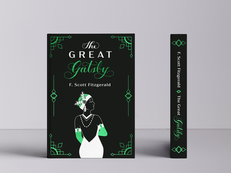 The Great Gatsby - cover redesign book cover mockup book cover design book cover visual  identity flat illustration handlettering vector lettering vector typography illustration