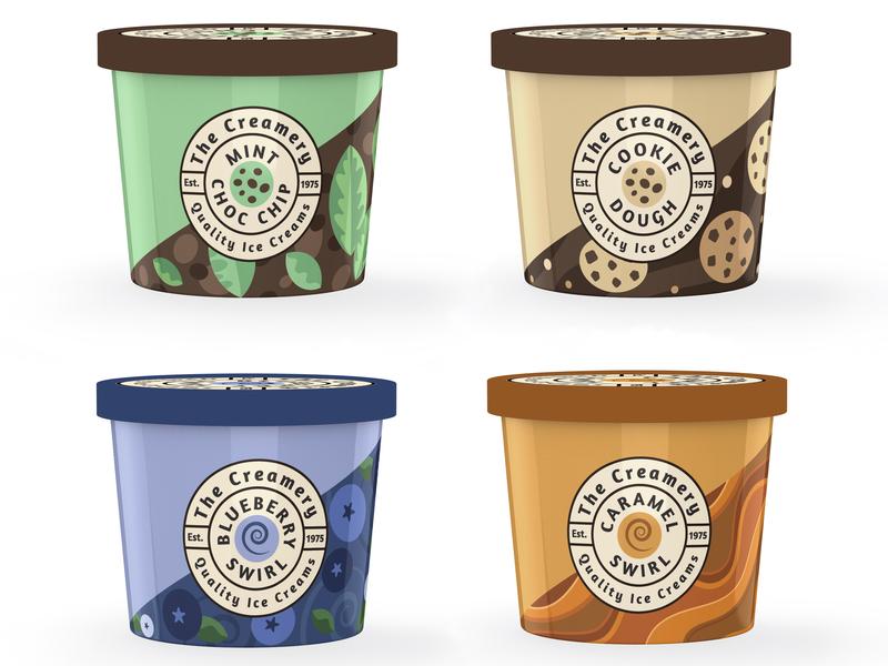 The Creamery - package design concept packaging design ice cream logo design logo illustration flat illustration branding vector lettering vector typography