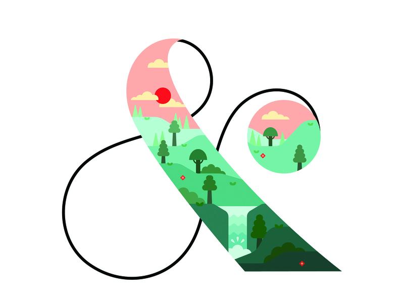 Ampersands - poster trio ampersand landscape lettering flat illustration design vector typography illustration