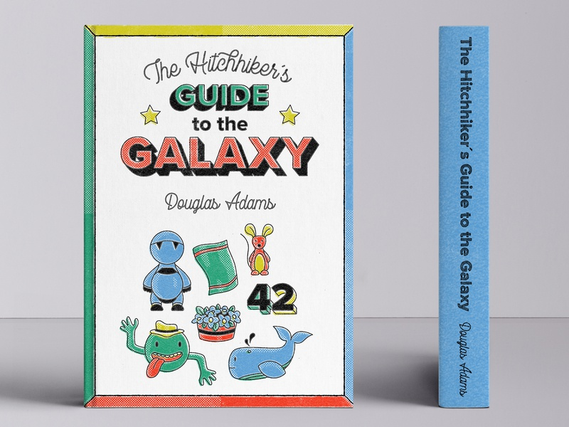 The Hitchhiker´s Guide to the Galaxy - cover redesign book cover design book cover vector lettering lettering vector typography illustration