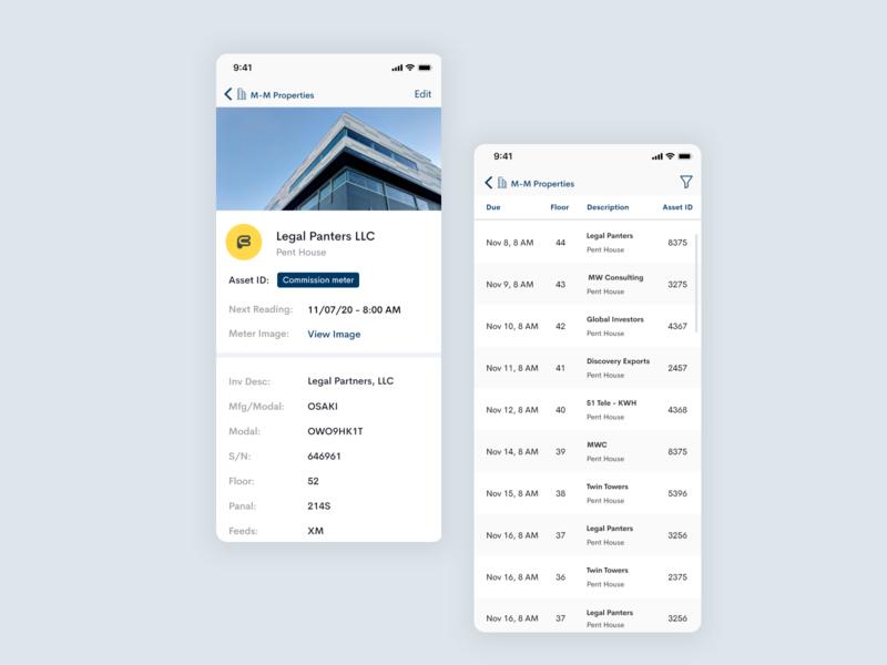HVAC Management App ios app ios meter clean design cleanui profile page