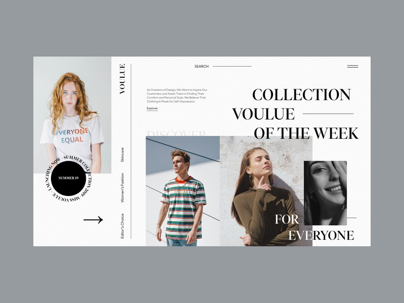 VOULUE / Collection of The Week concept fashion interaction interface promo typography ux web website weekly clean uxinspiration minimal ui design