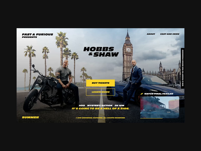 Hobbs & Shaw - Movie Landing Page Concept motion ux ui video interface hero animation concept art website web uxinspiration typography promo cars design concept