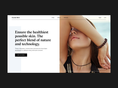 Curae Skin / Home Page Animation skincare concept fashion interaction promo typography ux web website clean minimal ui design motion animation video grid
