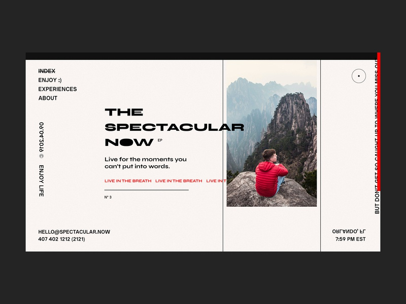 Spectacular Now Layout Experiment layout photography interaction design interface concept typography minimal uxinspiration design website ux clean web ui