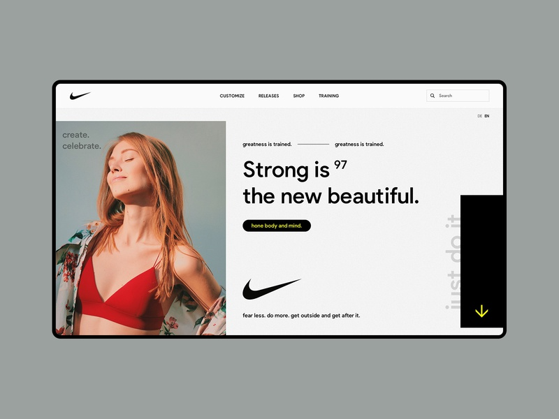 Nike Campaign / Greatness is trained promo layout web design training nike fashion concept typography minimal design clean website ui