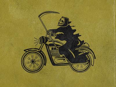 Brap vector illustration moto death takes a vacation death cycle motorcycle reaper grim reaper grim