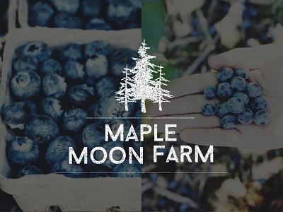 Maple Moon Farm Logo pine tree pine stamped faded vintage rustic farm logo