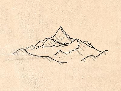 Mountain valleys peaks line simple vector logo mountain