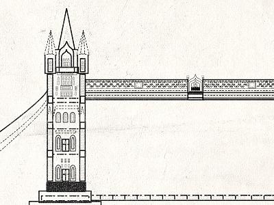 London Bridge line tower landmark london tourist vector bridge