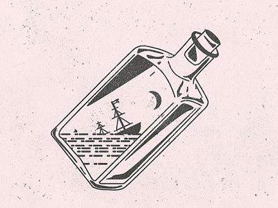 Sinking Ship in a Bottle whiskey drink ocean sea vector surf pirate bottle ship