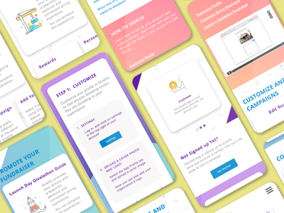 Givelify Cards color illustration learning onboard ui dashboard