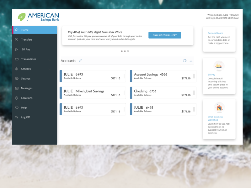 Banking UI Refresh by Julie Froelich on Dribbble