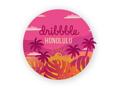 Dribbble Meetup Honolulu palm tree vector tropical palm beach sun palm hawaii honolulu meetup