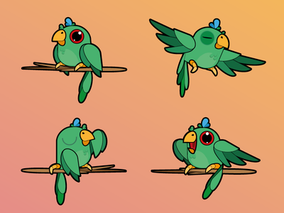 Kurikin flat vector illustration bird parrot mascot green ecology