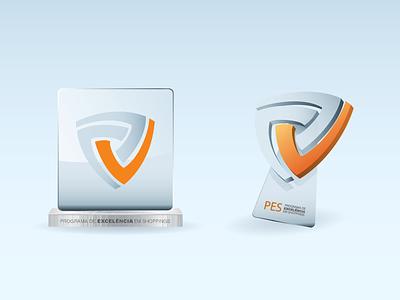 PES Trophies vector illustration mockup trophy concept metal glass