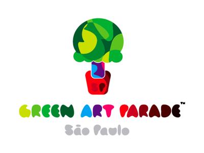 Green Art Parade logo color saturated flat green ecology vector