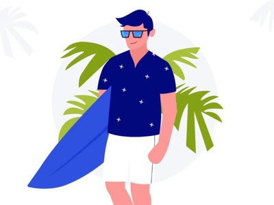 Illustration - Vacay character cool guy cool colors beach mode positive vibes minimalistic illustraion happy character design
