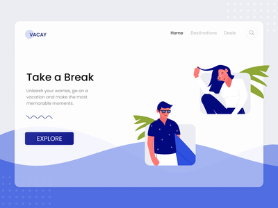 Vacay  Home Page homepage website design holidays vacay illustrations uidesign uiux